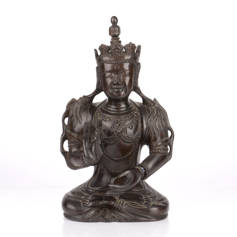 Carved hardwood figure of a dignitary Chinese dressed in formal robes, with long flowing hair, 35.