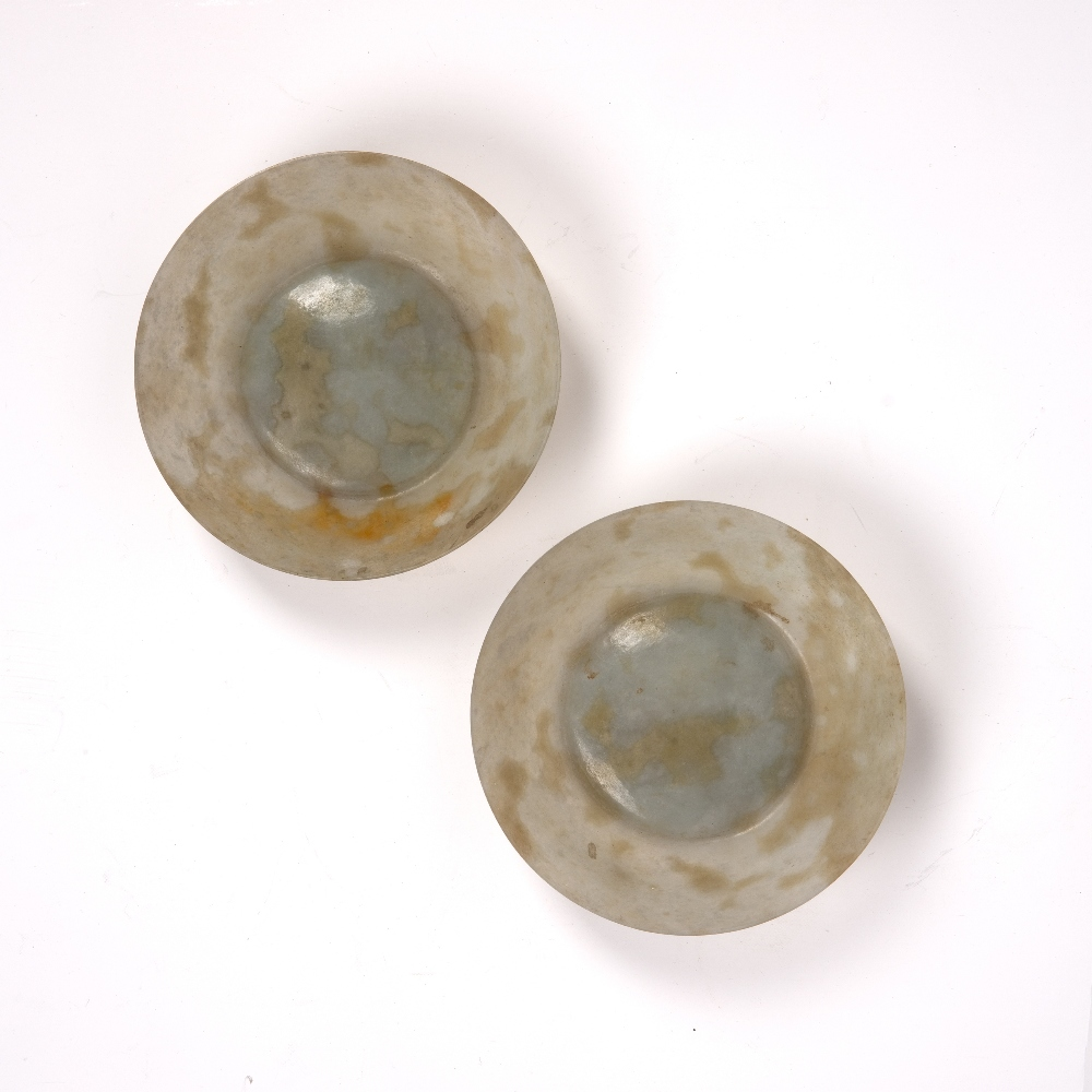 Grey and brown mottled eggshell jade bowls Chinese, 19th Century of translucent colour, 13cm x 3.5cm