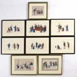 Collection of Chinese pith or rice paper paintings of various scenes, all unsigned, the examples