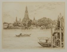M Deja (Contemporary) 'Vat Arun, Bangkok' etching, numbered 77/300, signed in pencil lower right,