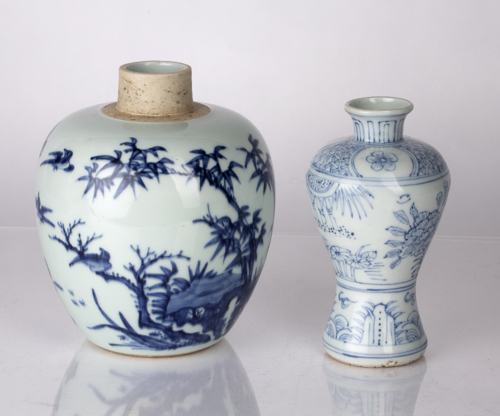 Blue and white globular vase Chinese decorated to the body with birds perched on a branch, 17.5cm - Image 2 of 4