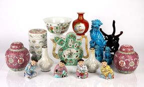 Group of ceramics Chinese including a famille verte calligraphy teapot, 20cm high, a famille verte