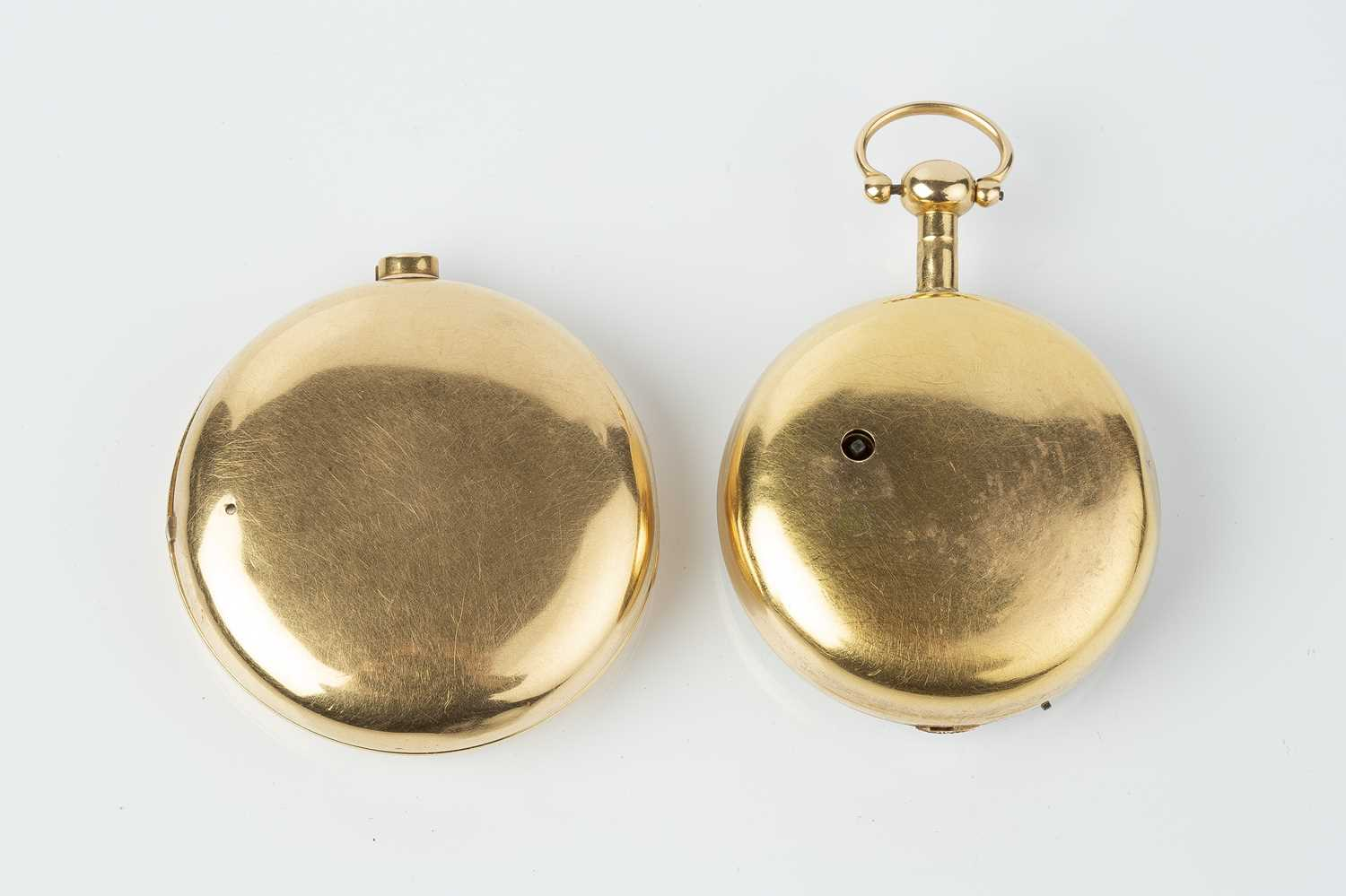 A George III 18ct gold pair case pocket watch, the circular white enamel dial with Roman numerals, - Image 3 of 14