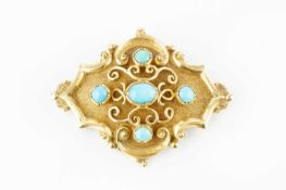 A Victorian turquoise set panel brooch, the lozenge-shaped panel centred with a cluster of turquoise
