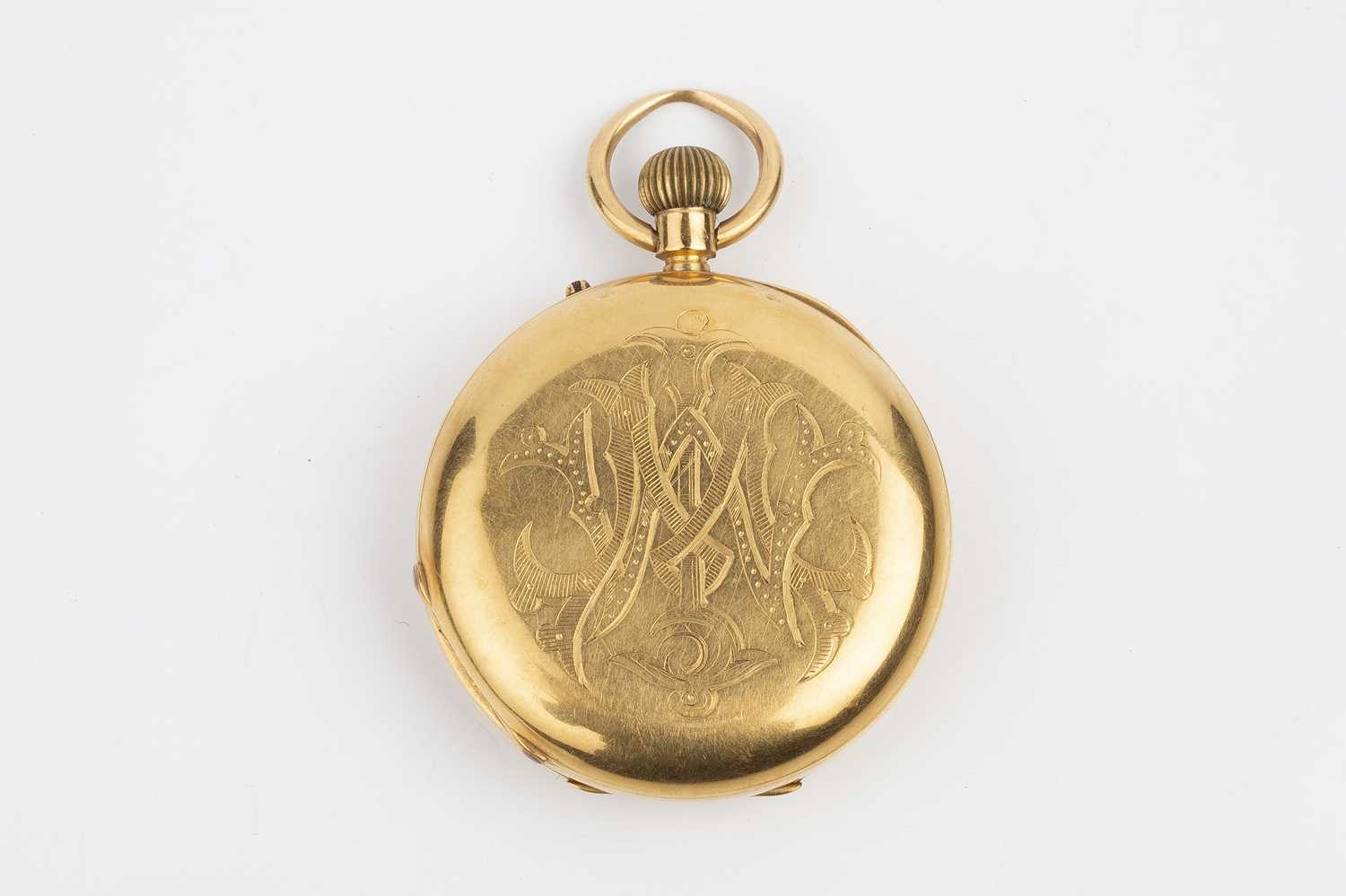 A late Victorian 18ct gold half hunter pocket watch, the white enamel dial with black Roman numerals - Image 2 of 14