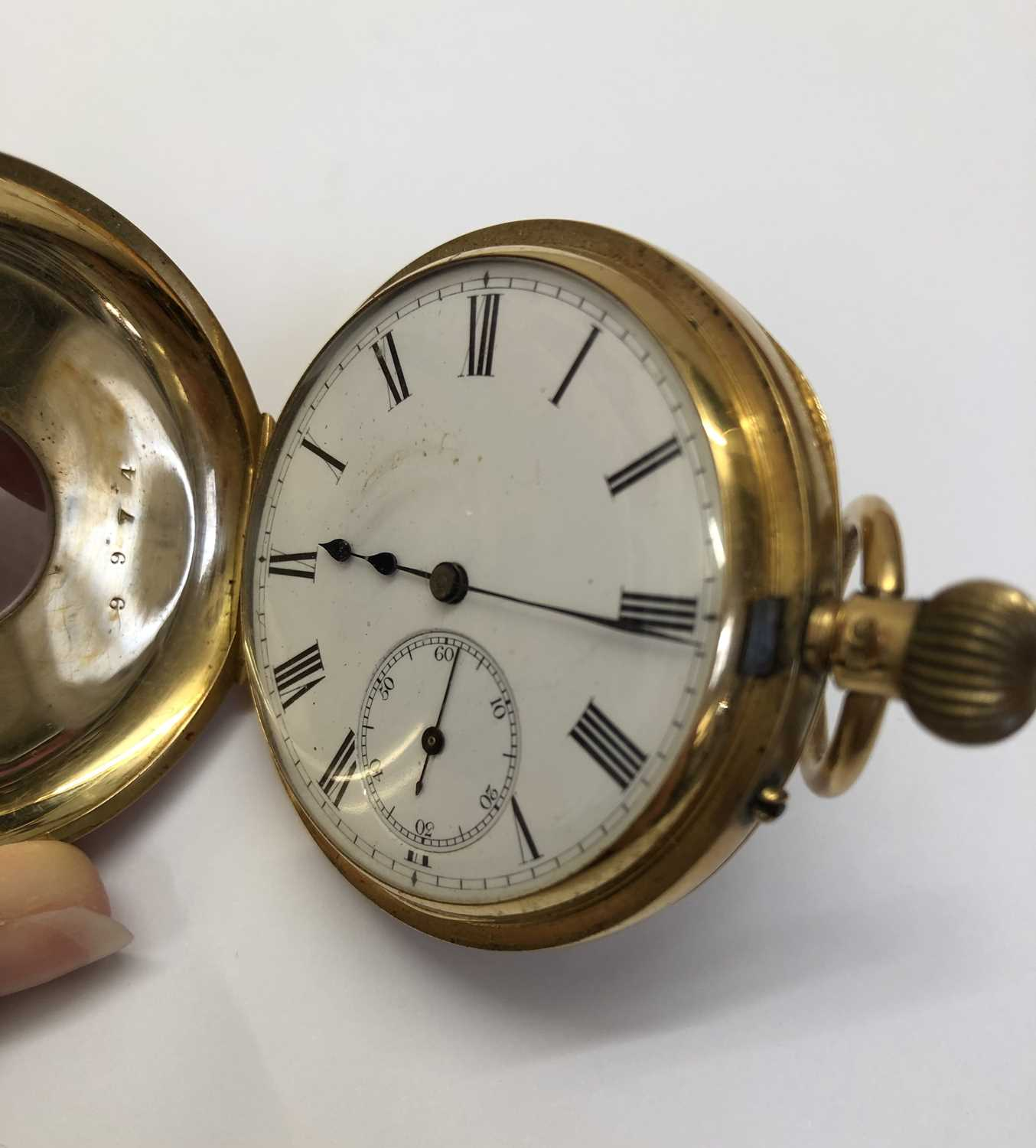 A late Victorian 18ct gold half hunter pocket watch, the white enamel dial with black Roman numerals - Image 7 of 14