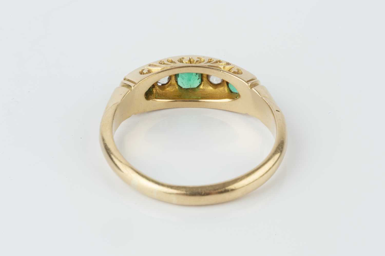 A late Victorian emerald and diamond five stone ring, alternately set with graduated rectangular - Image 3 of 3