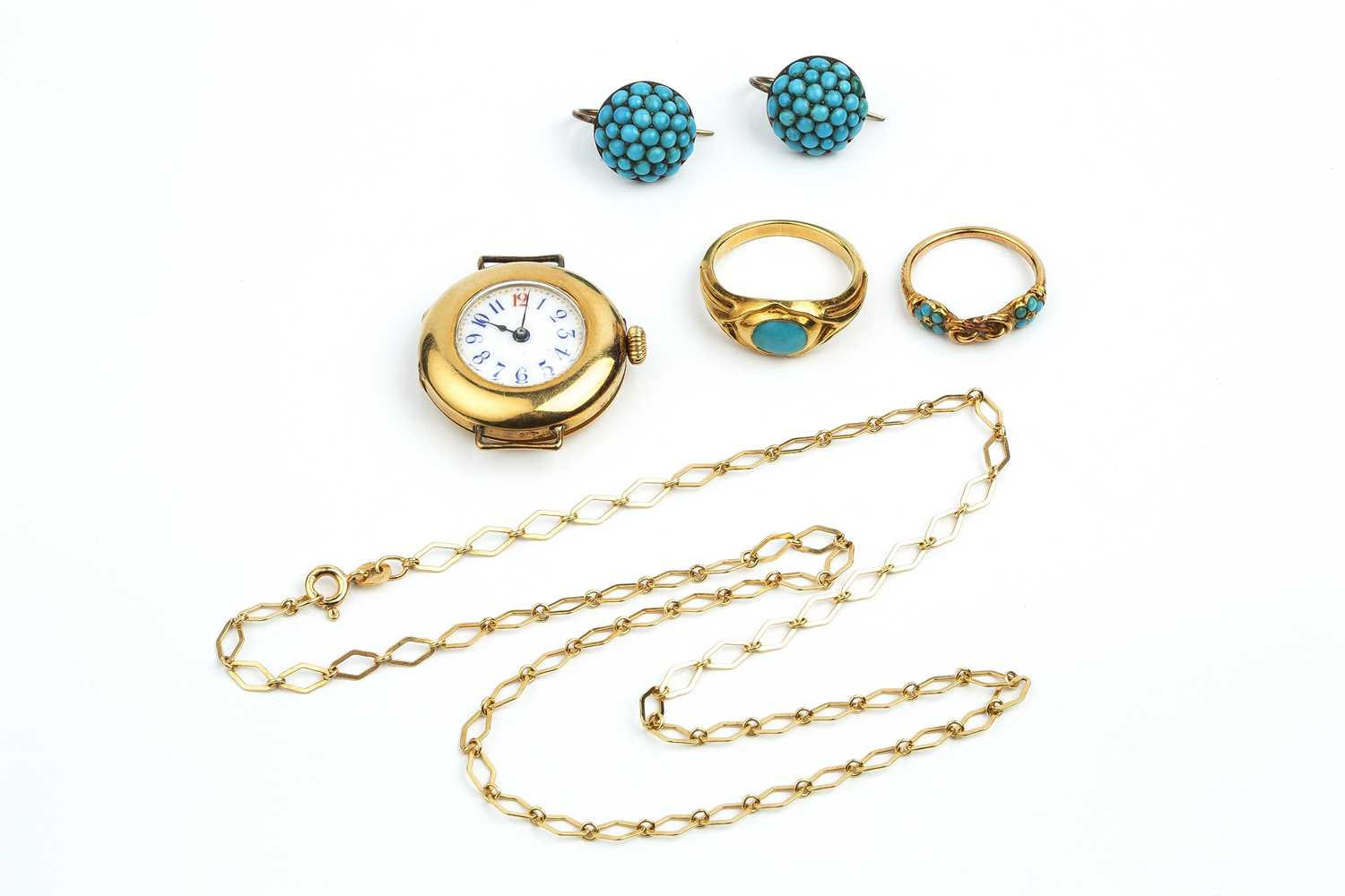 A collection of antique and later jewellery, comprising a 19th century dress ring, with central knot