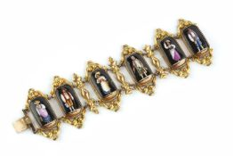 A 19th century Swiss panel bracelet, designed as a series of octagonal panels, each painted to