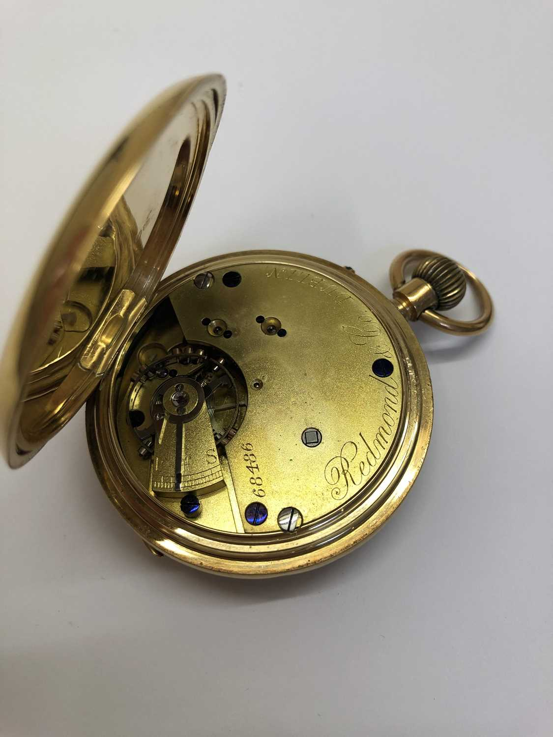 A late Victorian 18ct gold half hunter pocket watch, the white enamel dial with black Roman numerals - Image 12 of 14
