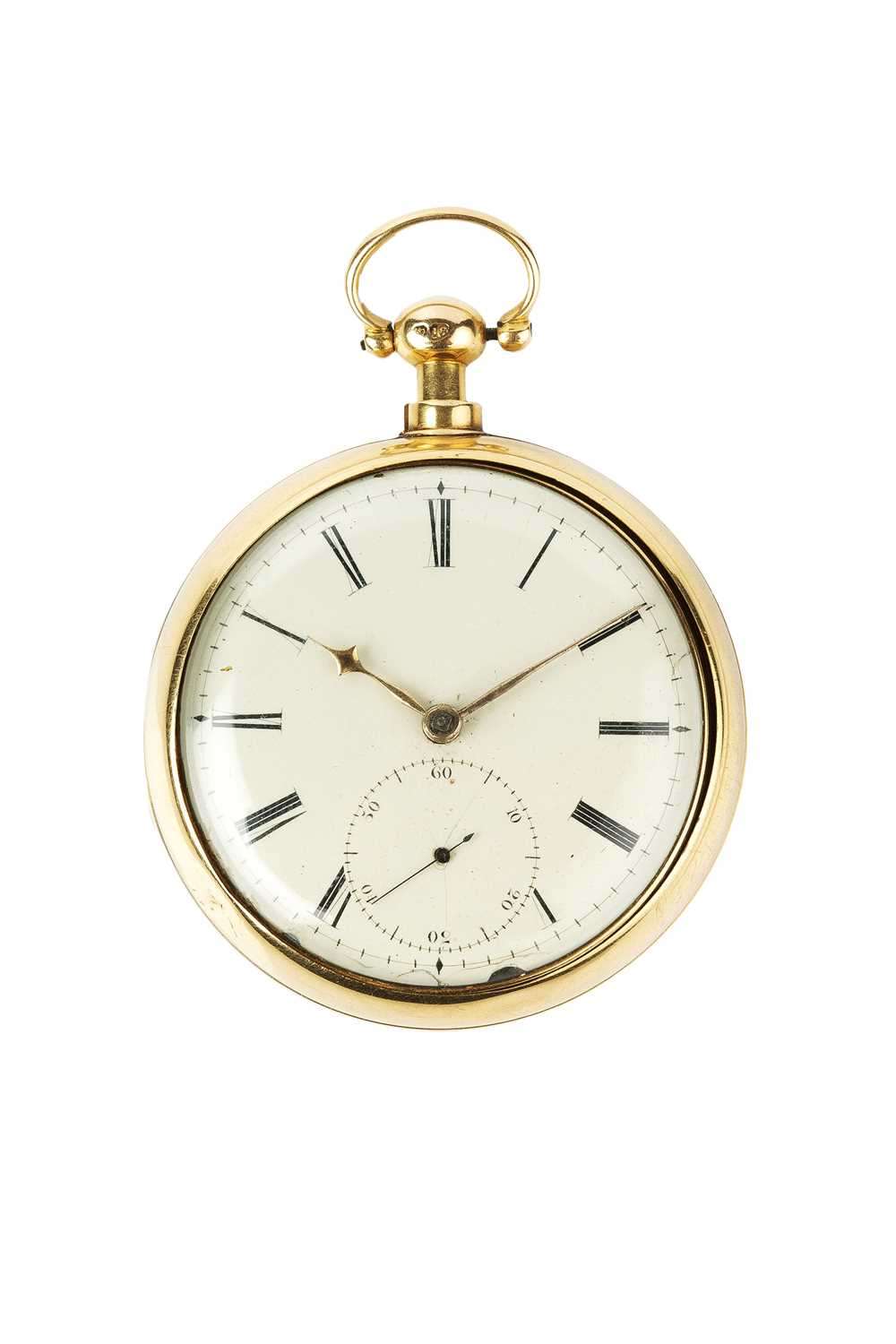 A George III 18ct gold pair case pocket watch, the circular white enamel dial with Roman numerals,