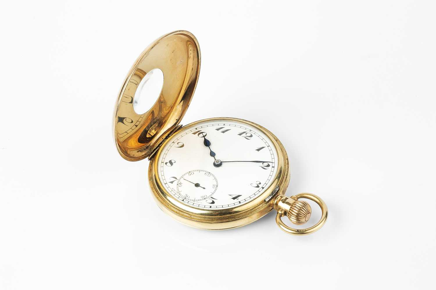 A 9ct gold half hunter pocket watch, the white dial with stylised Arabic numerals and subsidiary