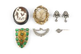 A collection of antique and later jewellery, comprising a Georgian white paste panel, with foiled