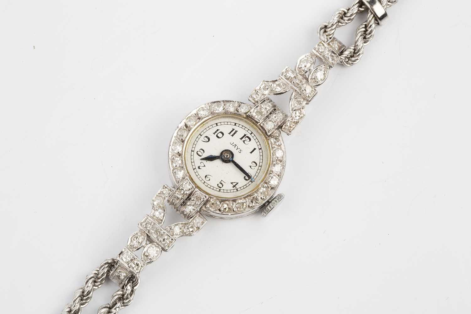 A diamond cocktail watch, the circular silvered dial signed JAYS, with stylised black Arabic - Image 2 of 3
