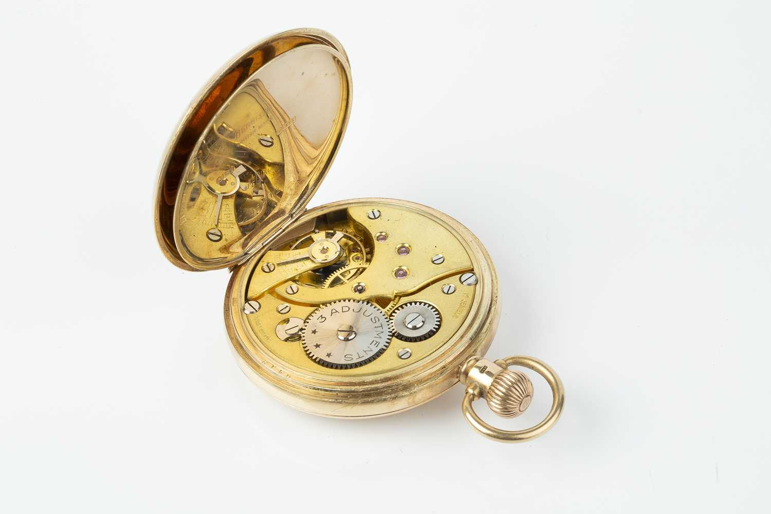 A 9ct gold half hunter pocket watch, the white dial with stylised Arabic numerals and subsidiary - Image 3 of 8
