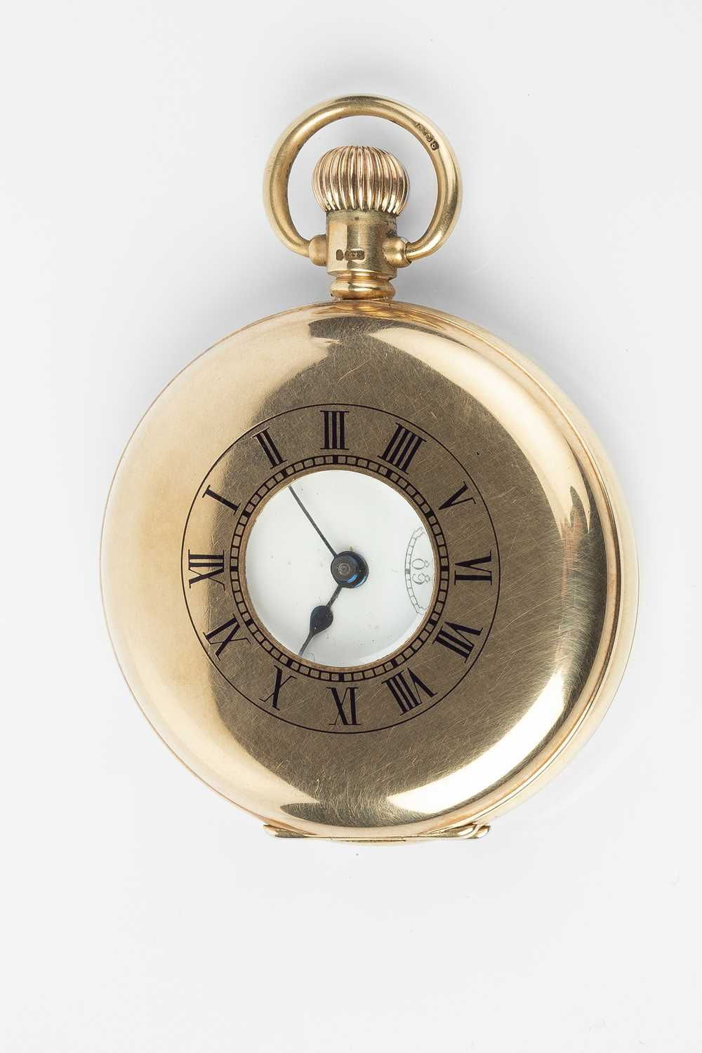 A 9ct gold half hunter pocket watch, the white dial with stylised Arabic numerals and subsidiary - Image 2 of 8