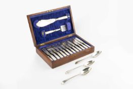 A set of three George III silver Old English pattern tablespoons, with bright cut decoration,