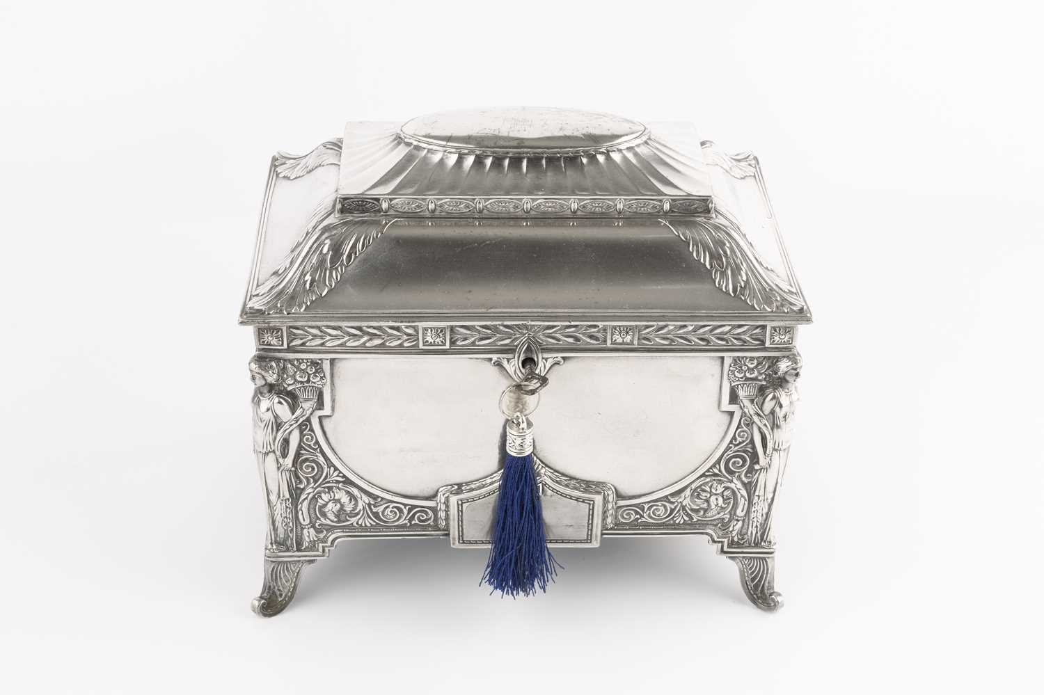 An early 20th century W.M.F. silver plated rectangular casket, of Art Nouveau design, the domed