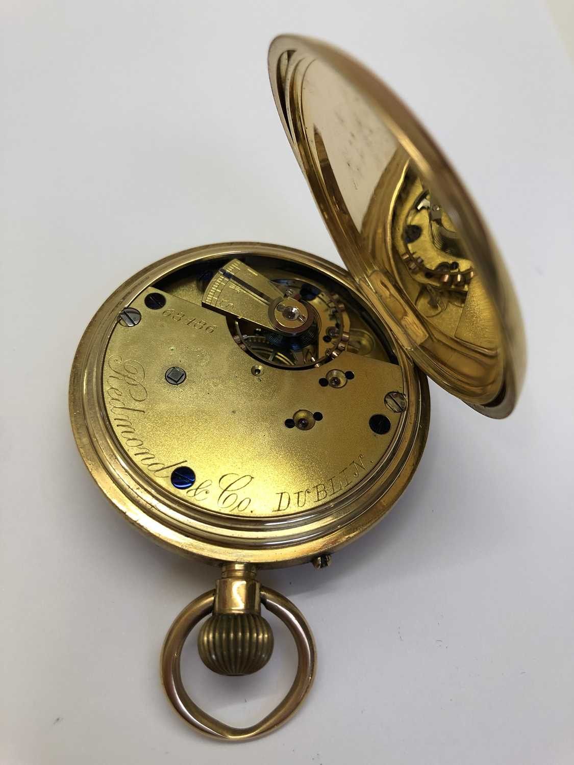 A late Victorian 18ct gold half hunter pocket watch, the white enamel dial with black Roman numerals - Image 13 of 14