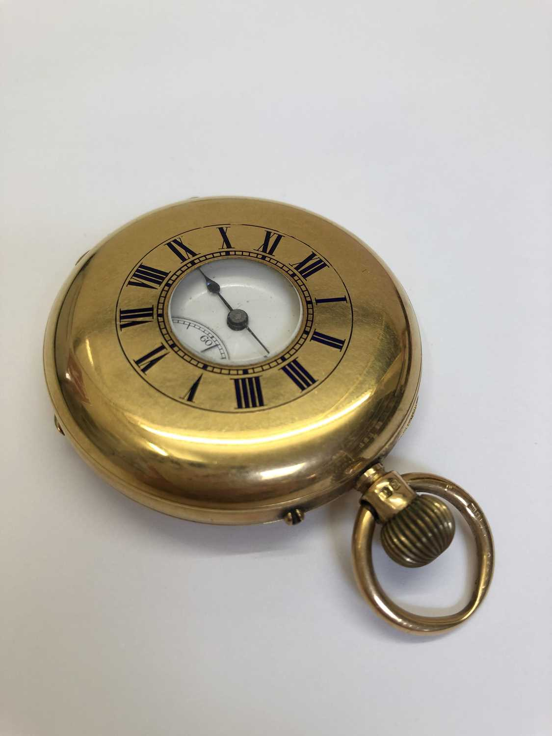 A late Victorian 18ct gold half hunter pocket watch, the white enamel dial with black Roman numerals - Image 3 of 14