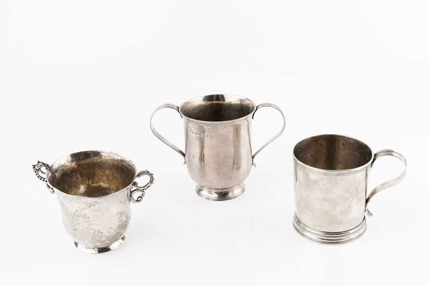 A George III silver twin handled cup, with reeded strap handles, by William Bateman I, London