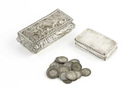 An early Victorian silver rectangular snuff box, with ropetwist border, maker H.D, Sheffield 1837,