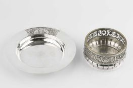 A German butter dish, with pierced and embossed urn and swag border, and having glass liner, stamped