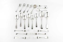 A collection of mainly 19th century silver fiddle and Old English pattern flatware, comprising two