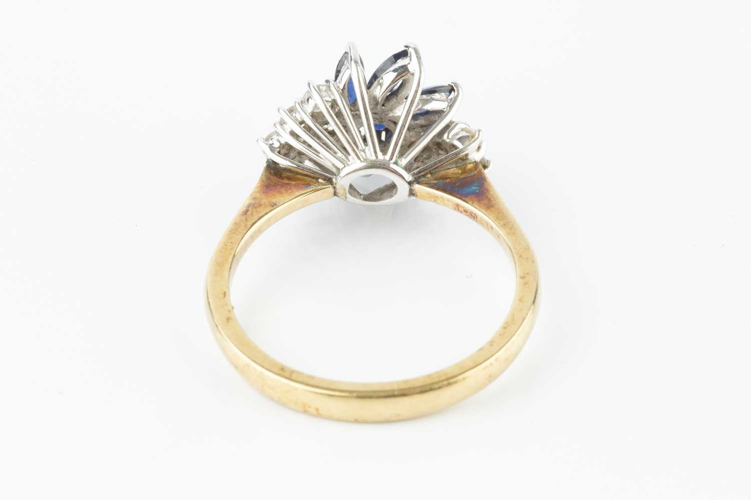 A sapphire and diamond cluster ring, designed as an abstract spray of circular mixed-cut and - Image 3 of 3