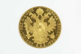 An Austria Four Ducat re-strike, dated 1915, cased, and a gilt metal Golden Jubilee medal for The