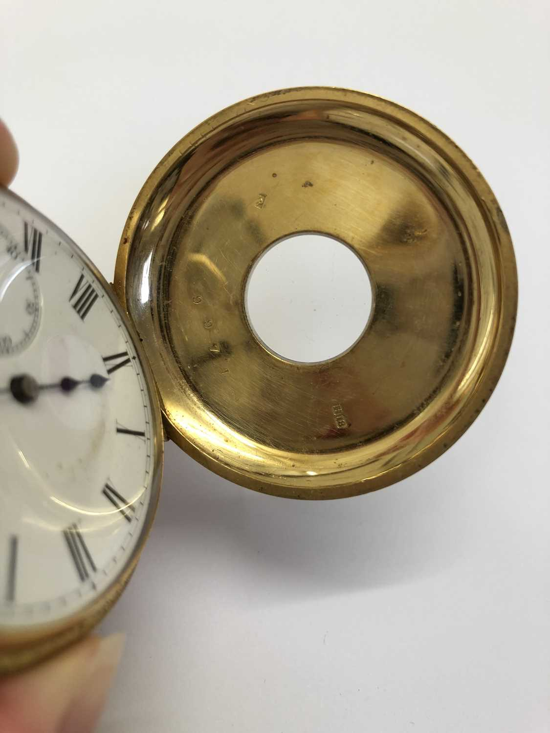 A late Victorian 18ct gold half hunter pocket watch, the white enamel dial with black Roman numerals - Image 9 of 14