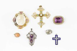 A collection of antique and later jewellery, comprising a shell cameo and gem set panel brooch,