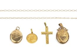 A collection of pendants, comprising a yellow precious metal Pisces pendant, stamped '750', two oval