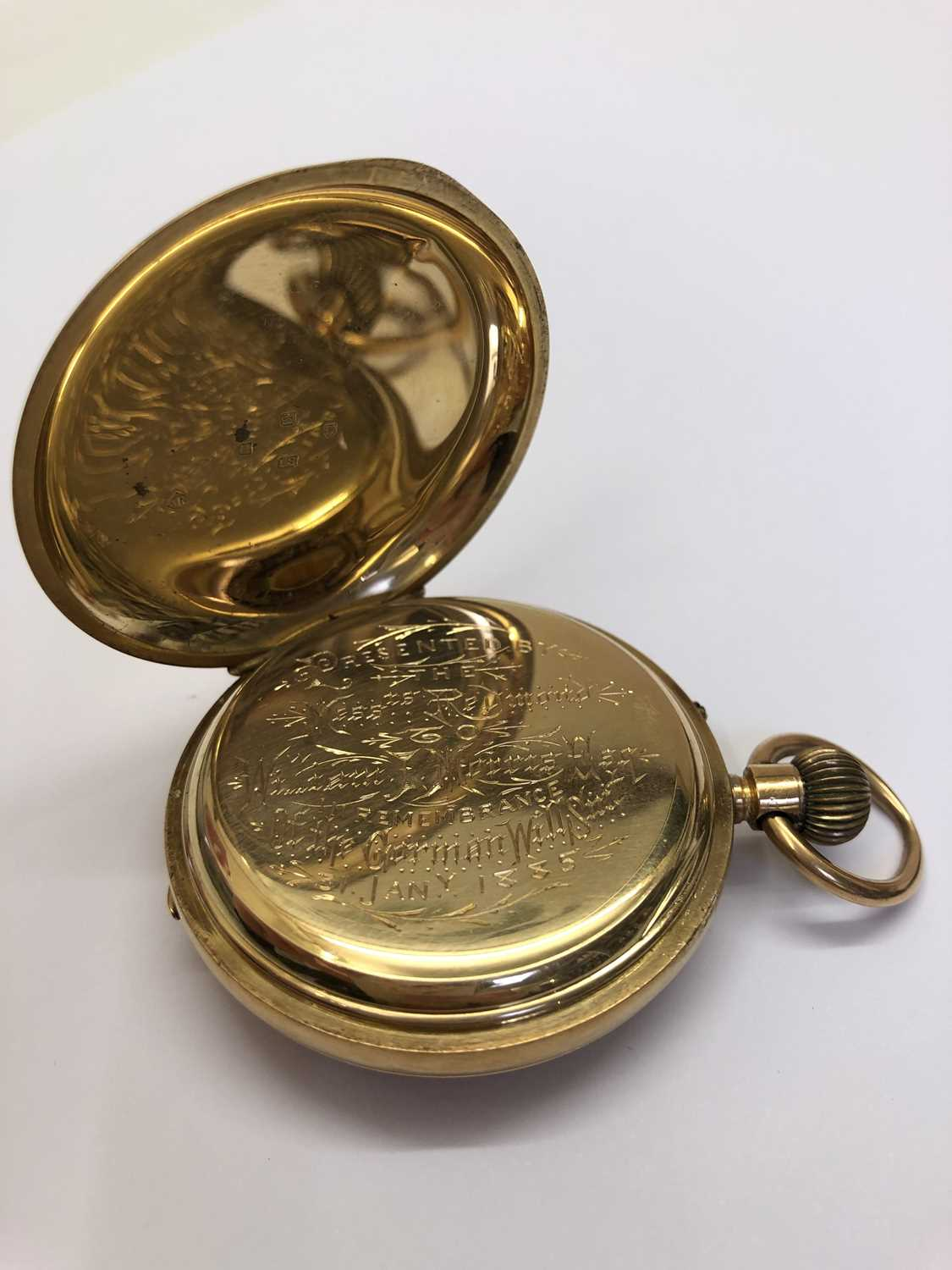 A late Victorian 18ct gold half hunter pocket watch, the white enamel dial with black Roman numerals - Image 10 of 14