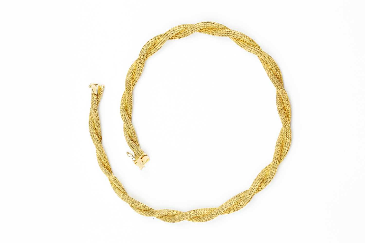 A yellow precious metal collar necklace, designed as two entwined strands of woven ropetwist - Image 3 of 3