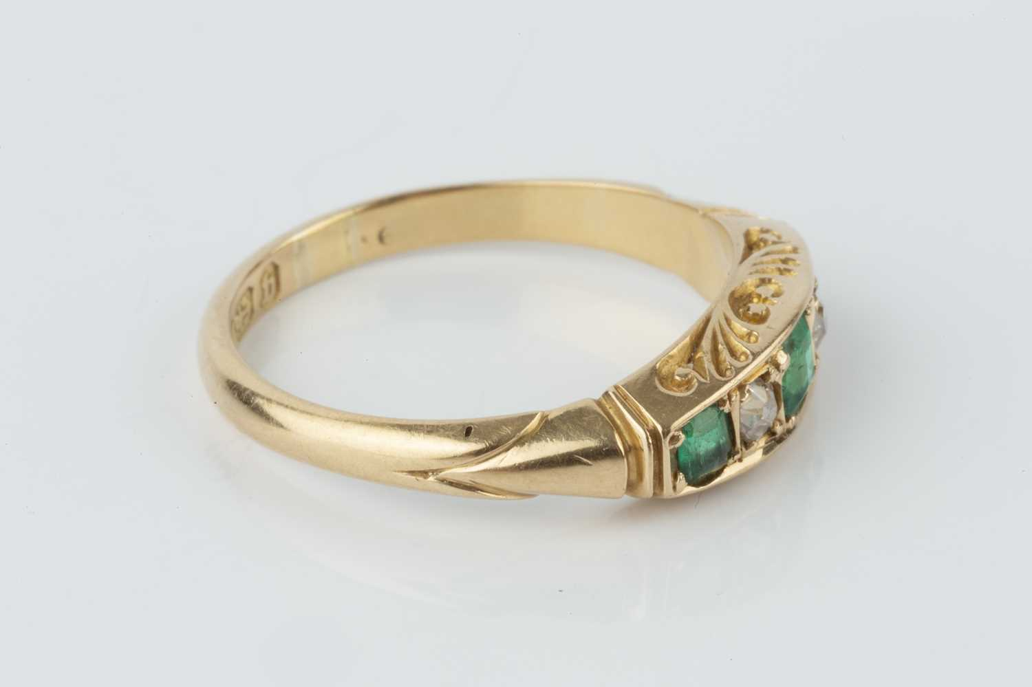 A late Victorian emerald and diamond five stone ring, alternately set with graduated rectangular - Image 2 of 3