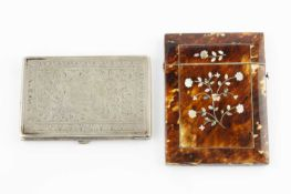 A 19th century tortoiseshell and mother of pearl inlaid card case, inlaid to each side with a