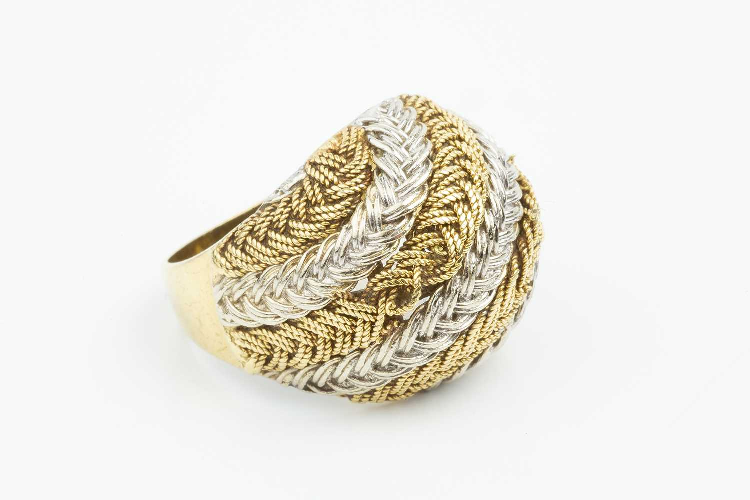 An 18ct two colour gold dress ring, of plaited and woven design, with London import marks, ring size - Image 2 of 3
