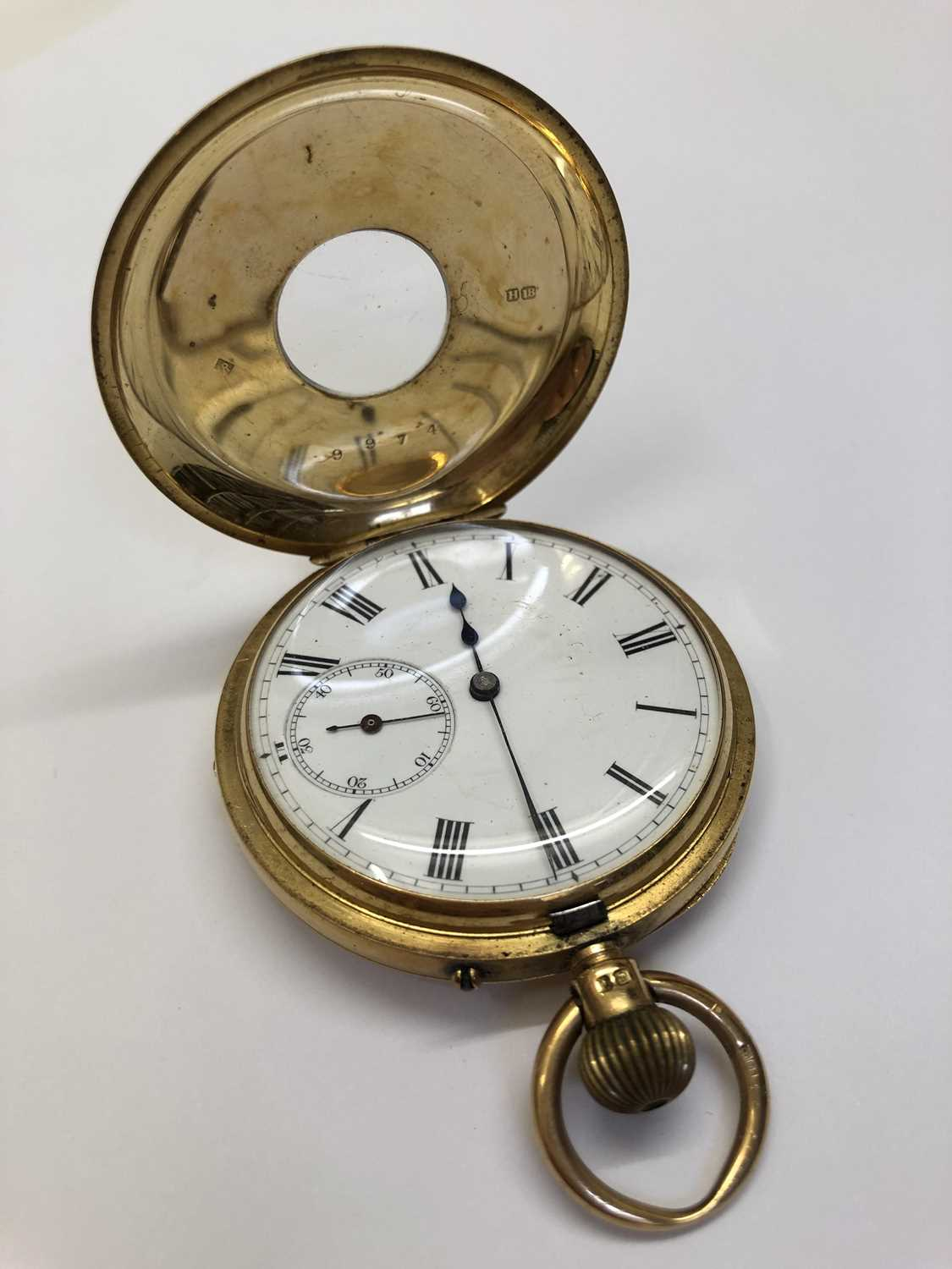 A late Victorian 18ct gold half hunter pocket watch, the white enamel dial with black Roman numerals - Image 6 of 14