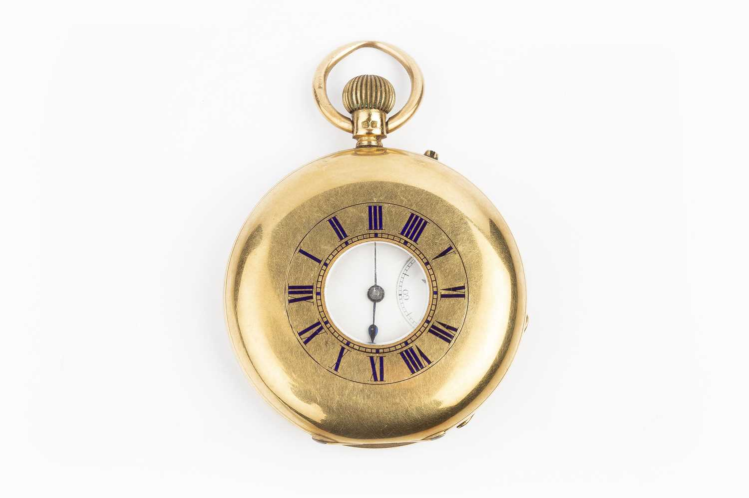 A late Victorian 18ct gold half hunter pocket watch, the white enamel dial with black Roman numerals