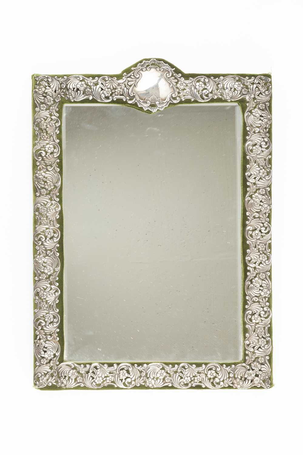 A late Victorian silver mounted easel dressing table mirror, pierced and embossed with repeated - Image 2 of 2