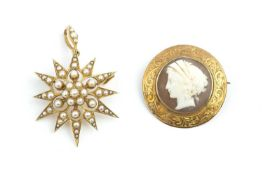 A late Victorian/Edwardian half pearl star brooch/pendant, with detachable pendant fitting,