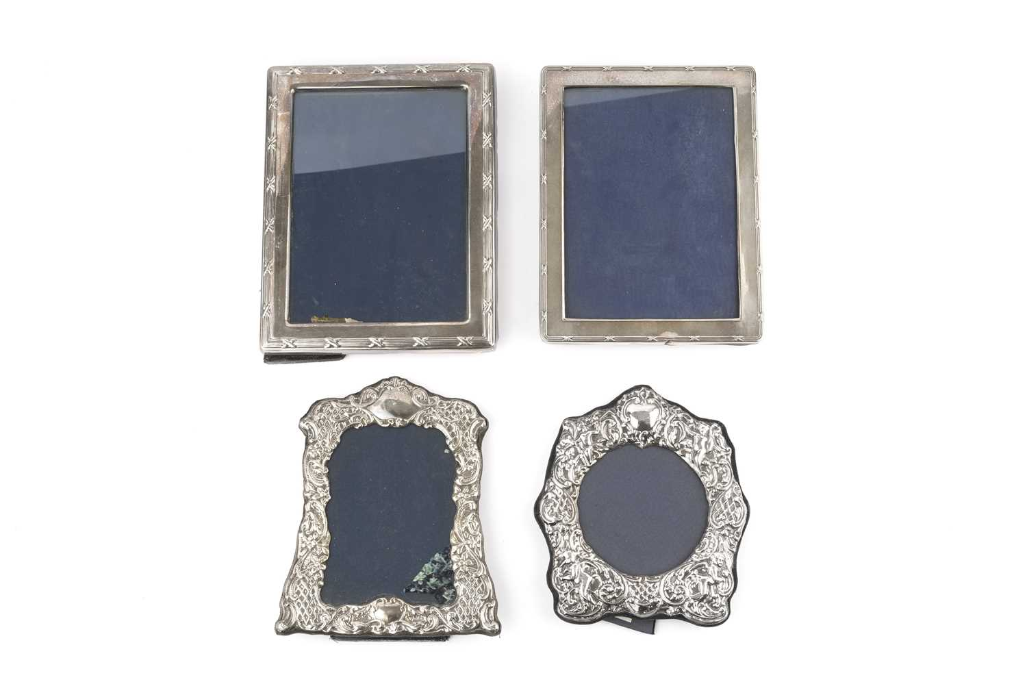 A silver rectangular photograph frame, with reeded and strapwork border, Sheffield 1991, 22cm