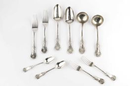 An early Victorian Scottish silver Queen's pattern flatware service, comprising six tablespoons, six