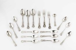 A set of nine William IV silver King's pattern teaspoons, by Reid & Sons, Newcastle 1833, together