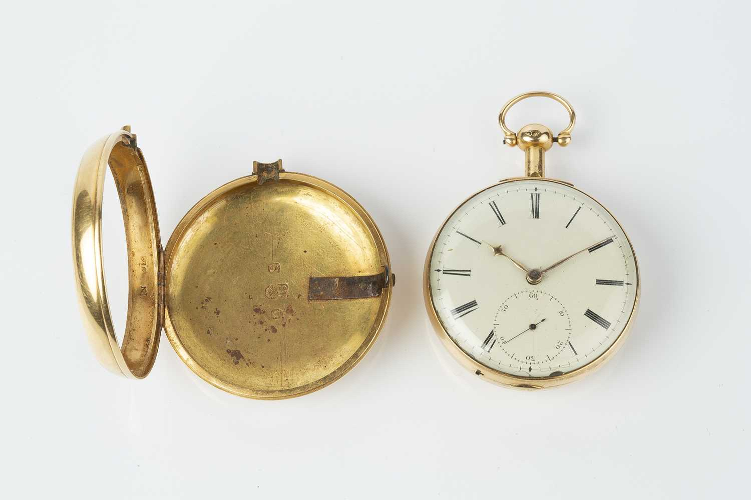 A George III 18ct gold pair case pocket watch, the circular white enamel dial with Roman numerals, - Image 2 of 14