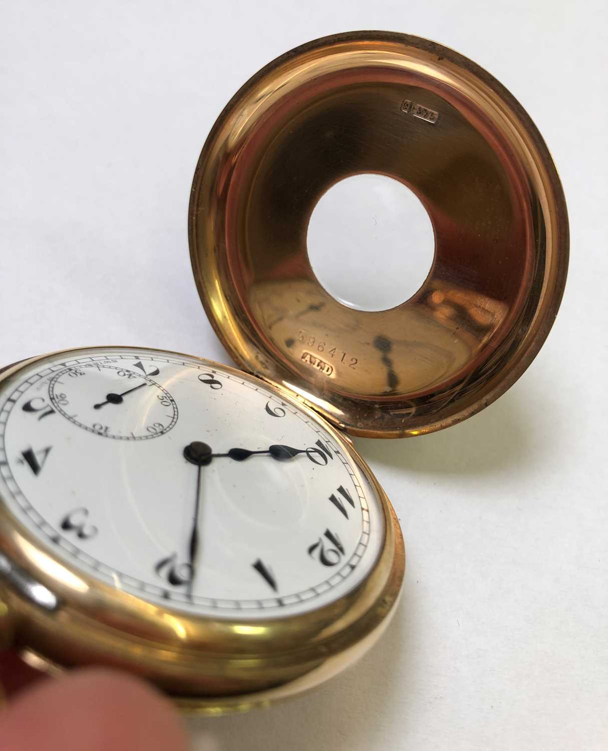 A 9ct gold half hunter pocket watch, the white dial with stylised Arabic numerals and subsidiary - Image 6 of 8