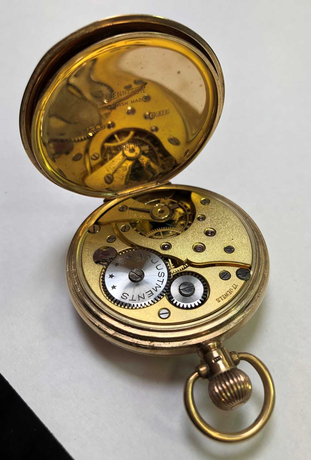 A 9ct gold half hunter pocket watch, the white dial with stylised Arabic numerals and subsidiary - Image 7 of 8