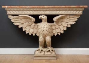 An 18th century style marble topped console table with a cream painted base with eagle support,