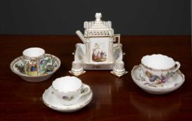 A Meissen porcelain miniature architectural teapot with pilaster columns to either side, the lid